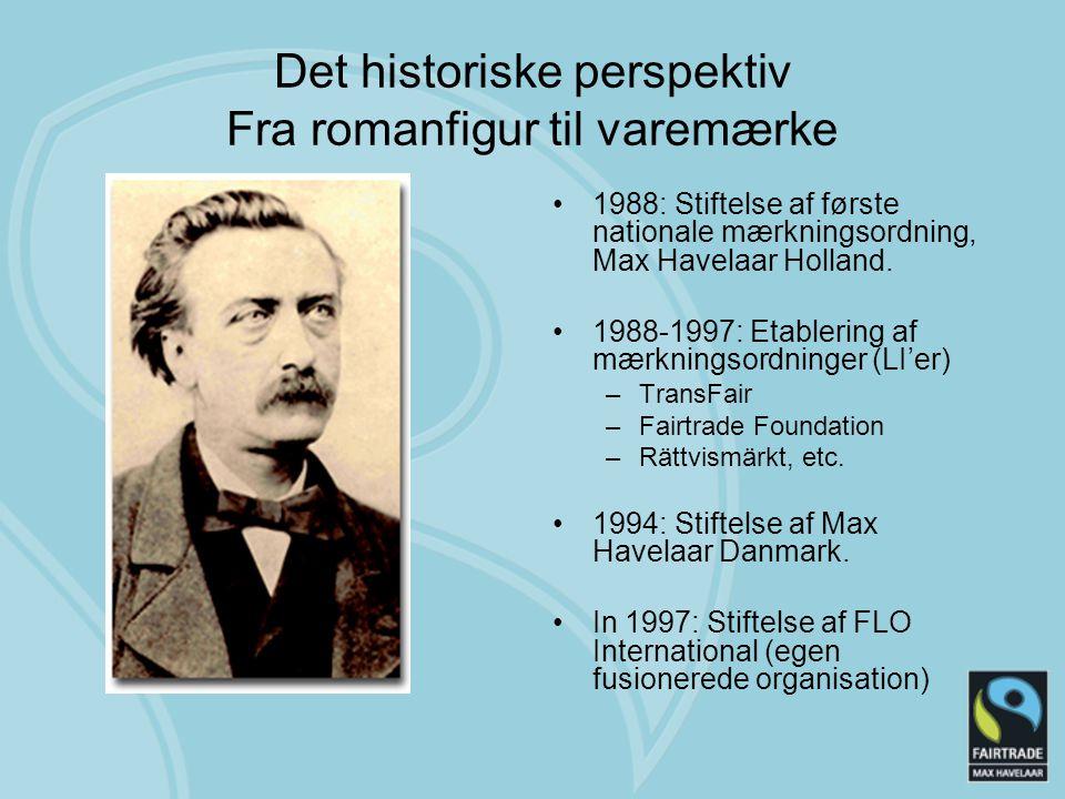 Det historiske perspektiv Fra romanfigur til varemærke 1988: Stiftelse af første nationale mærkningsordning, Max Havelaar Holland.