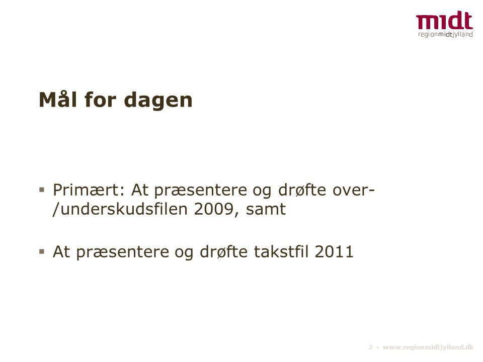 2 ▪ www.regionmidtjylland.dk Mål for dagen  Primært: At præsentere og drøfte over- /underskudsfilen 2009, samt  At præsentere og drøfte takstfil 2011