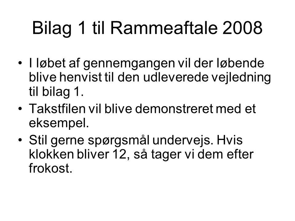 Bilag 1 til Rammeaftale 2008 I løbet af gennemgangen vil der løbende blive henvist til den udleverede vejledning til bilag 1.