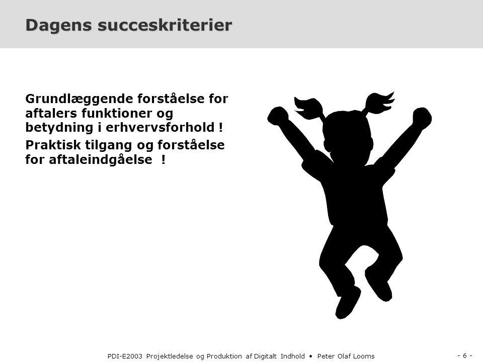 - 6 - PDI-E2003 Projektledelse og Produktion af Digitalt Indhold Peter Olaf Looms Dagens succeskriterier Grundlæggende forståelse for aftalers funktioner og betydning i erhvervsforhold .