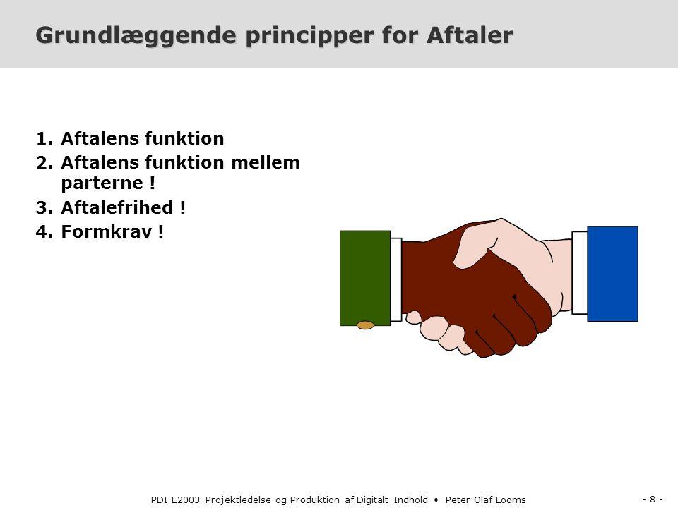 - 8 - PDI-E2003 Projektledelse og Produktion af Digitalt Indhold Peter Olaf Looms Grundlæggende principper for Aftaler 1.Aftalens funktion 2.Aftalens funktion mellem parterne .