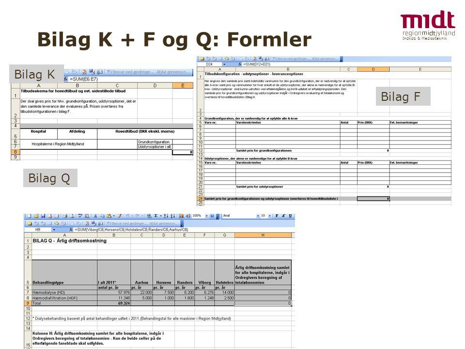 Indkøb & Medicoteknik Bilag K + F og Q: Formler Bilag K Bilag F Bilag Q