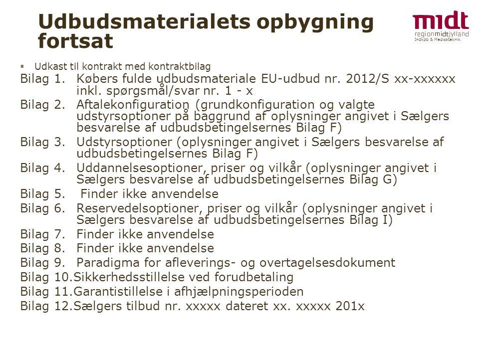 Indkøb & Medicoteknik Udbudsmaterialets opbygning fortsat  Udkast til kontrakt med kontraktbilag Bilag 1.Købers fulde udbudsmateriale EU-udbud nr.