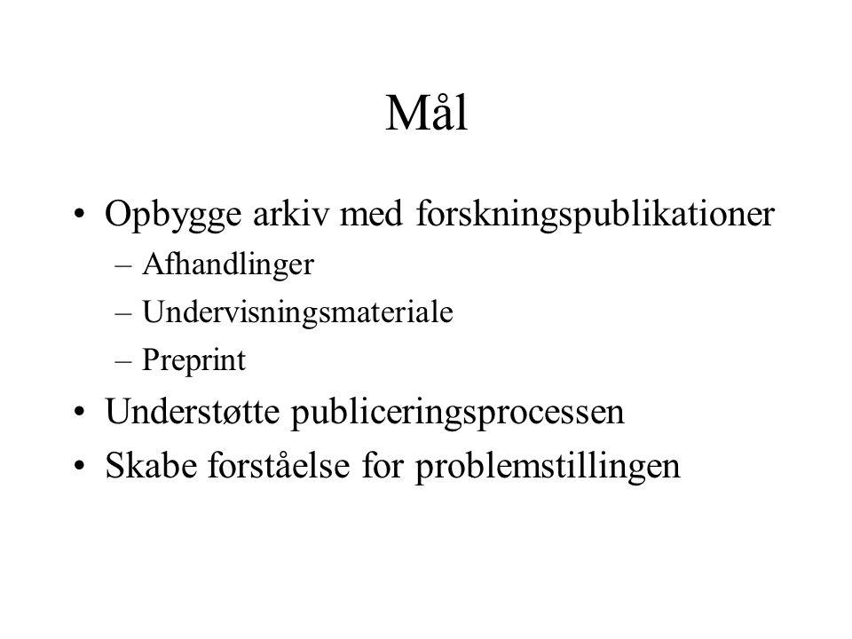 Mål Opbygge arkiv med forskningspublikationer –Afhandlinger –Undervisningsmateriale –Preprint Understøtte publiceringsprocessen Skabe forståelse for problemstillingen
