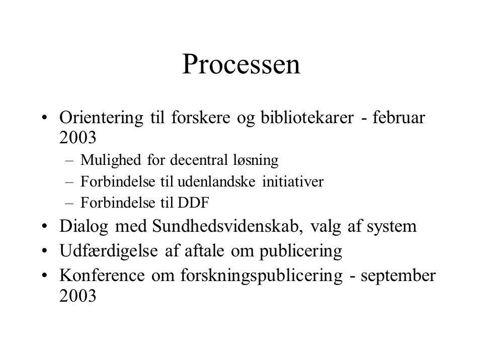 Processen Orientering til forskere og bibliotekarer - februar 2003 –Mulighed for decentral løsning –Forbindelse til udenlandske initiativer –Forbindelse til DDF Dialog med Sundhedsvidenskab, valg af system Udfærdigelse af aftale om publicering Konference om forskningspublicering - september 2003