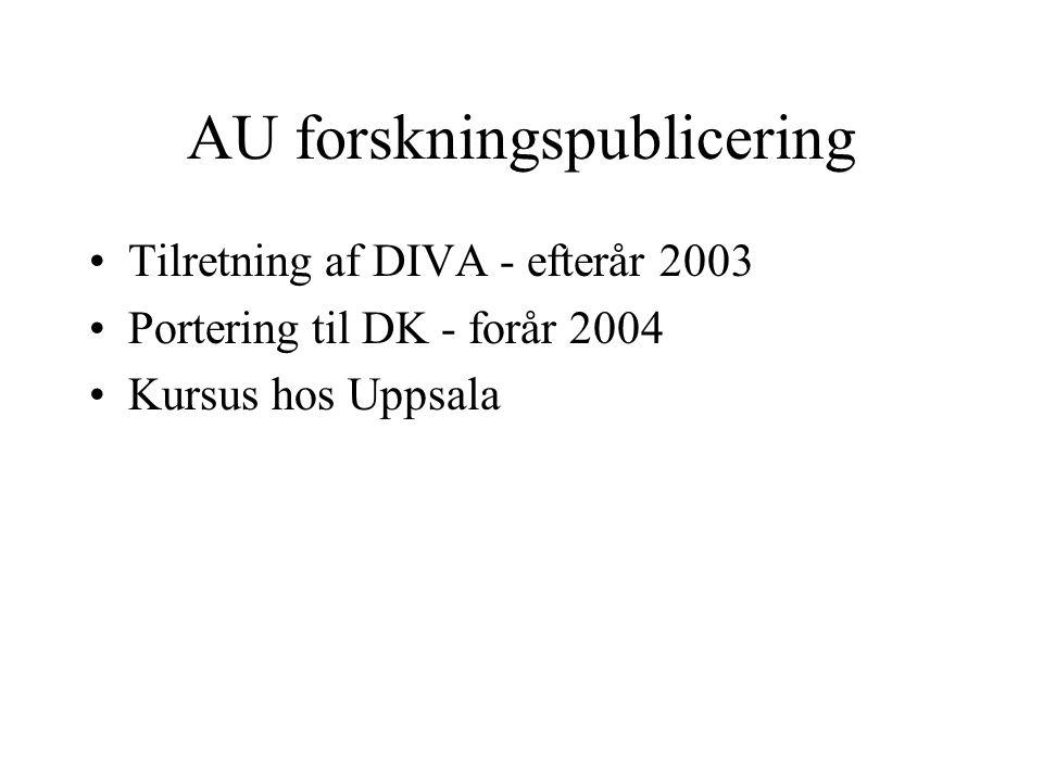 AU forskningspublicering Tilretning af DIVA - efterår 2003 Portering til DK - forår 2004 Kursus hos Uppsala