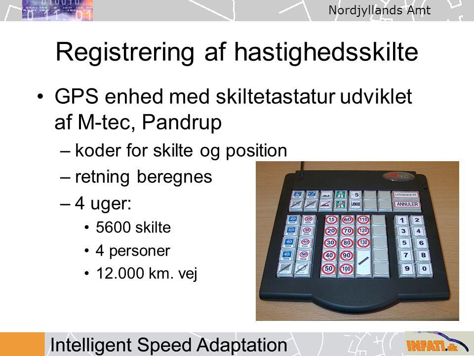 Nordjyllands Amt Registrering af hastighedsskilte GPS enhed med skiltetastatur udviklet af M-tec, Pandrup –koder for skilte og position –retning beregnes –4 uger: 5600 skilte 4 personer 12.000 km.