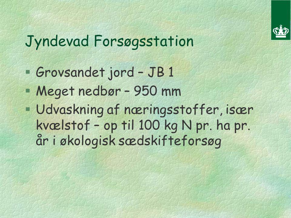 Jyndevad Forsøgsstation §Grovsandet jord – JB 1 §Meget nedbør – 950 mm §Udvaskning af næringsstoffer, især kvælstof – op til 100 kg N pr.
