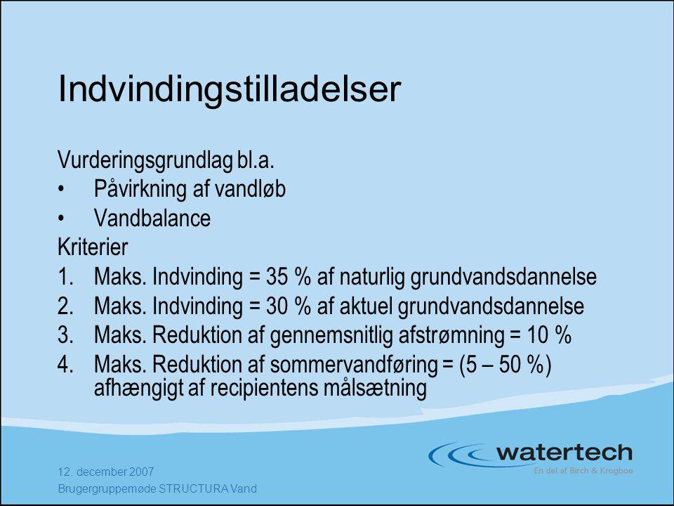 12. december 2007 Brugergruppemøde STRUCTURA Vand Indvindingstilladelser Vurderingsgrundlag bl.a.