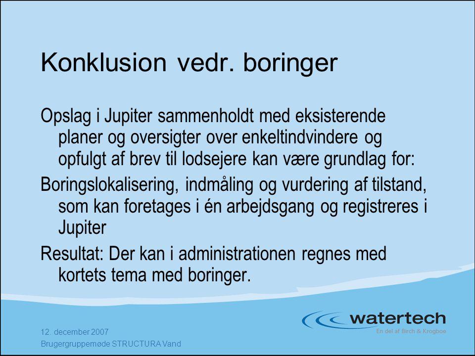 12. december 2007 Brugergruppemøde STRUCTURA Vand Konklusion vedr.
