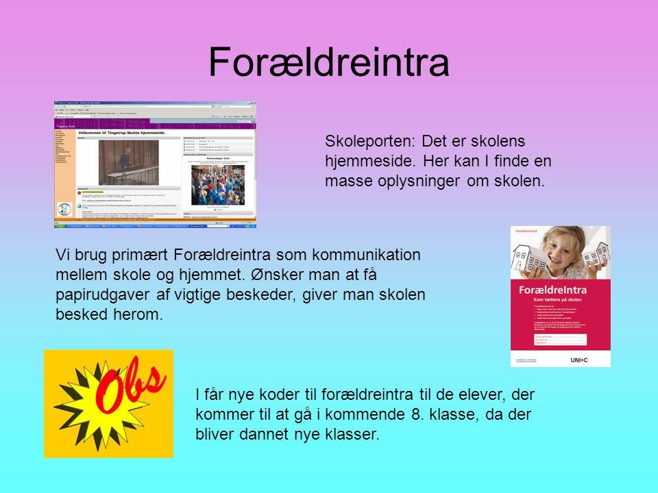 Forældreintra Skoleporten: Det er skolens hjemmeside.