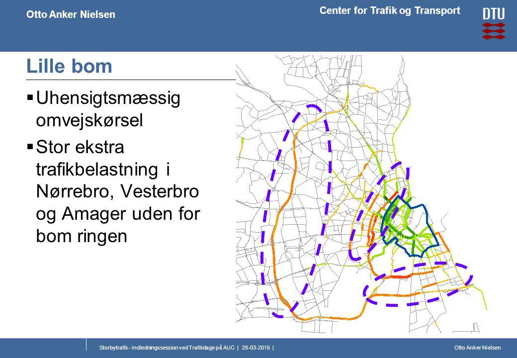 Otto Anker Nielsen Center for Trafik og Transport Otto Anker Nielsen Storbytrafik - Indledningssession ved Trafikdage på AUC | 28-03-2015 | Lille bom  Uhensigtsmæssig omvejskørsel  Stor ekstra trafikbelastning i Nørrebro, Vesterbro og Amager uden for bom ringen