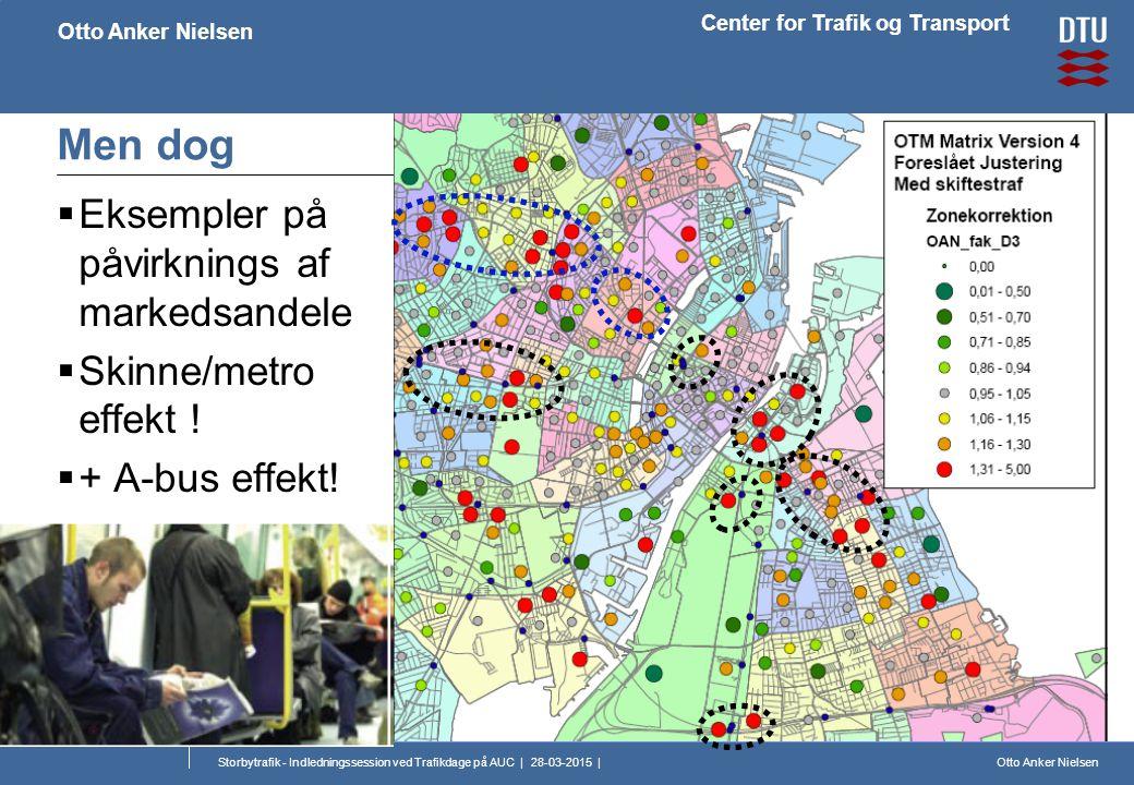 Otto Anker Nielsen Center for Trafik og Transport Otto Anker Nielsen Storbytrafik - Indledningssession ved Trafikdage på AUC | 28-03-2015 | Men dog  Eksempler på påvirknings af markedsandele  Skinne/metro effekt .