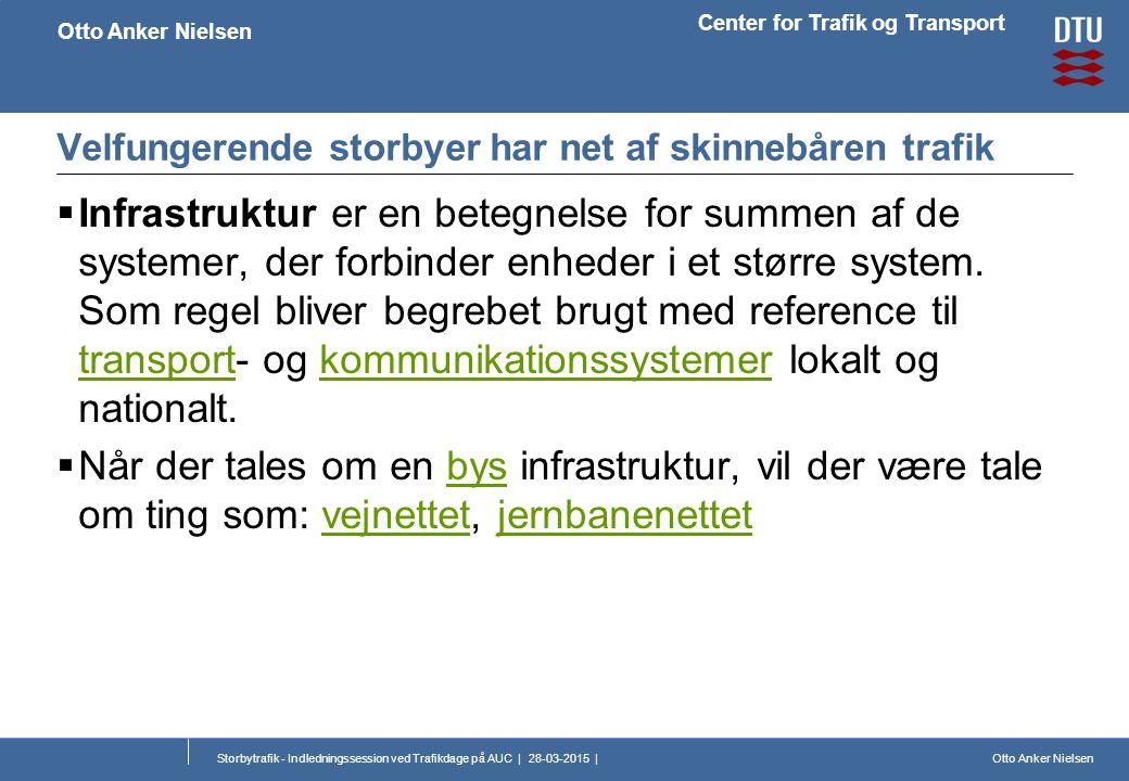 Otto Anker Nielsen Center for Trafik og Transport Otto Anker Nielsen Storbytrafik - Indledningssession ved Trafikdage på AUC | 28-03-2015 | Velfungerende storbyer har net af skinnebåren trafik  Infrastruktur er en betegnelse for summen af de systemer, der forbinder enheder i et større system.