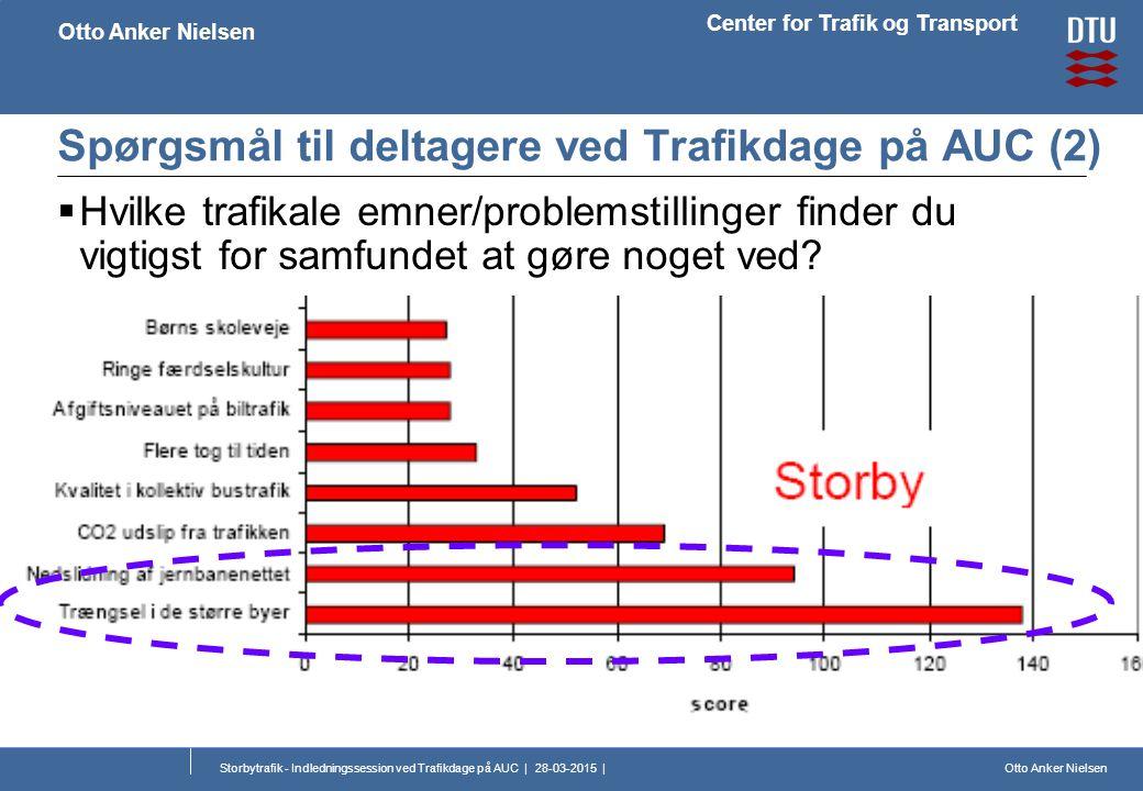 Otto Anker Nielsen Center for Trafik og Transport Otto Anker Nielsen Storbytrafik - Indledningssession ved Trafikdage på AUC | 28-03-2015 | Spørgsmål til deltagere ved Trafikdage på AUC (2)  Hvilke trafikale emner/problemstillinger finder du vigtigst for samfundet at gøre noget ved