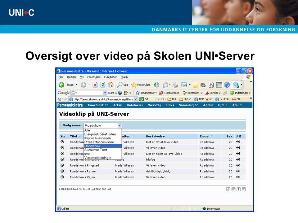 Oversigt over video på Skolen UNIServer