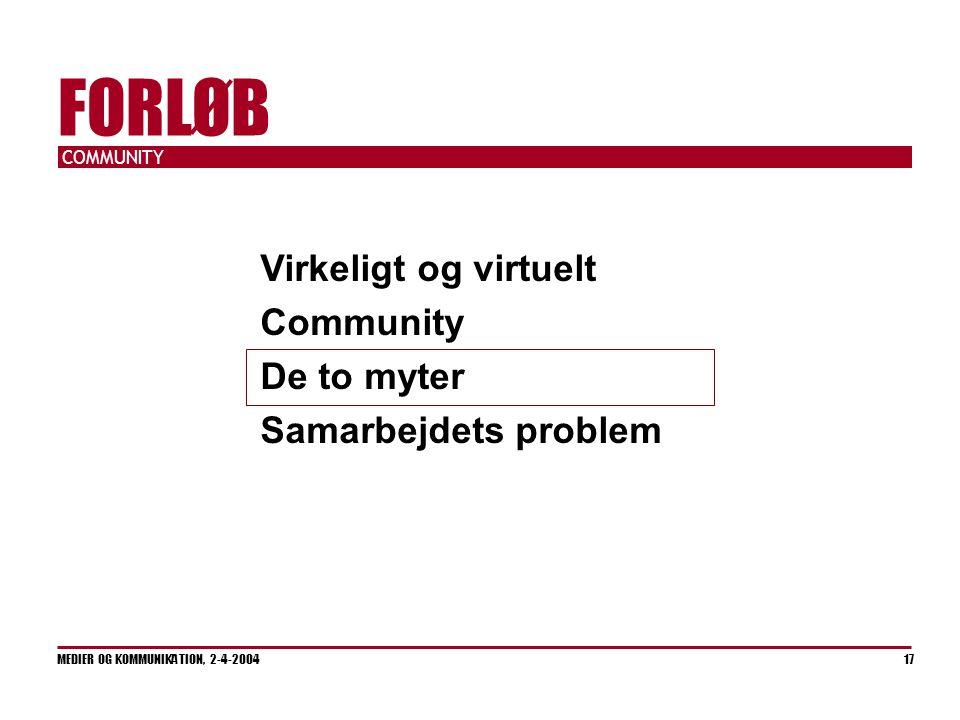 COMMUNITY MEDIER OG KOMMUNIKATION, 2-4-2004 17 FORLØB Virkeligt og virtuelt Community De to myter Samarbejdets problem