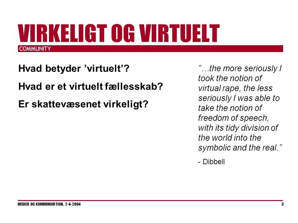 COMMUNITY MEDIER OG KOMMUNIKATION, 2-4-2004 3 VIRKELIGT OG VIRTUELT Hvad betyder 'virtuelt'.