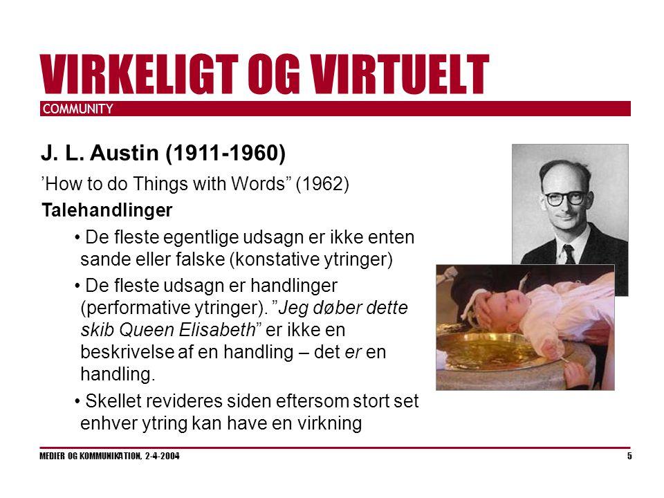 COMMUNITY MEDIER OG KOMMUNIKATION, 2-4-2004 5 VIRKELIGT OG VIRTUELT J.