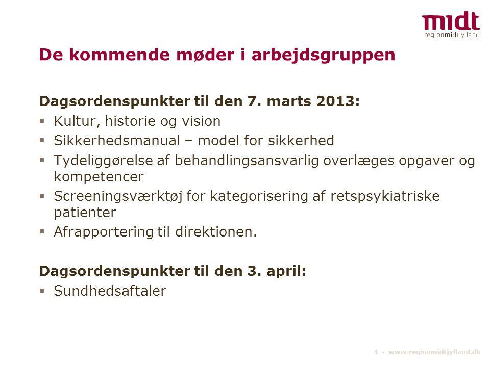 4 ▪ www.regionmidtjylland.dk De kommende møder i arbejdsgruppen Dagsordenspunkter til den 7.