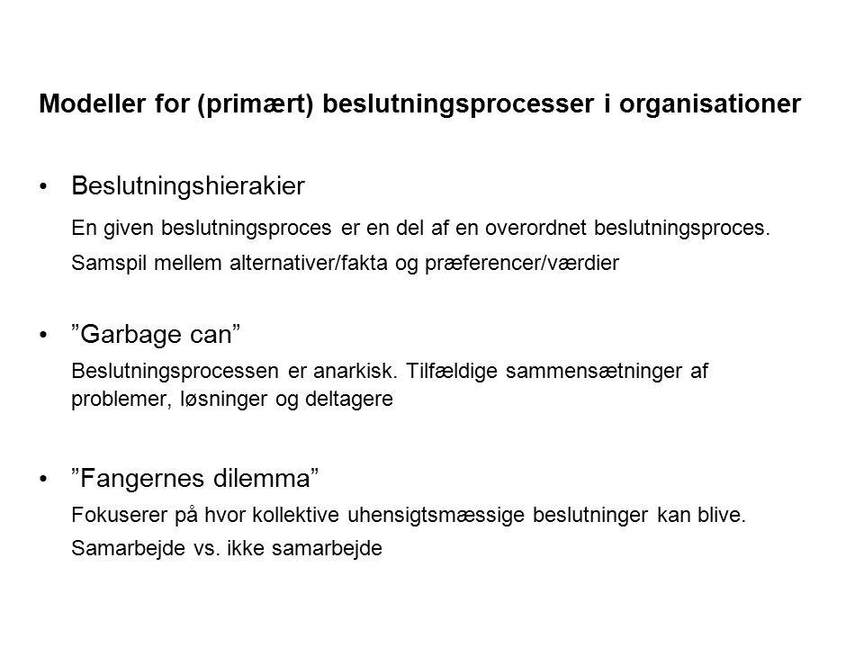 Modeller for (primært) beslutningsprocesser i organisationer Beslutningshierakier En given beslutningsproces er en del af en overordnet beslutningspro