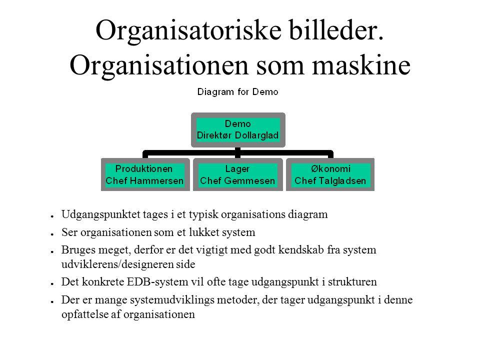 Organisatoriske billeder. Organisationen som maskine ● Udgangspunktet tages i et typisk organisations diagram ● Ser organisationen som et lukket syste