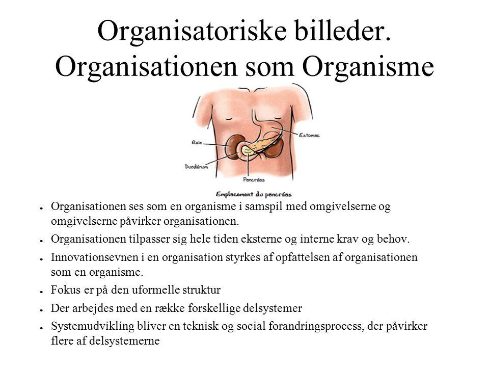 Organisatoriske billeder. Organisationen som Organisme ● Organisationen ses som en organisme i samspil med omgivelserne og omgivelserne påvirker organ