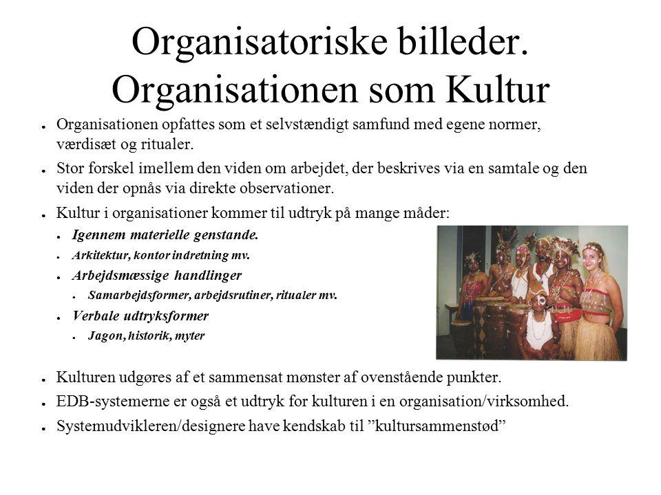 Organisatoriske billeder. Organisationen som Kultur ● Organisationen opfattes som et selvstændigt samfund med egene normer, værdisæt og ritualer. ● St