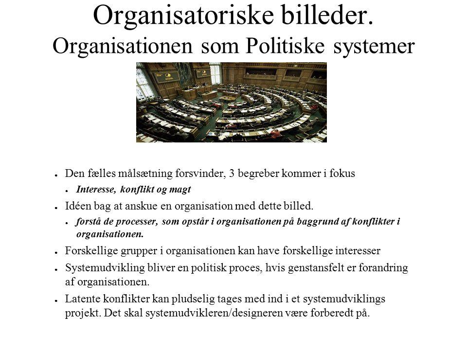 Organisatoriske billeder. Organisationen som Politiske systemer ● Den fælles målsætning forsvinder, 3 begreber kommer i fokus ● Interesse, konflikt og