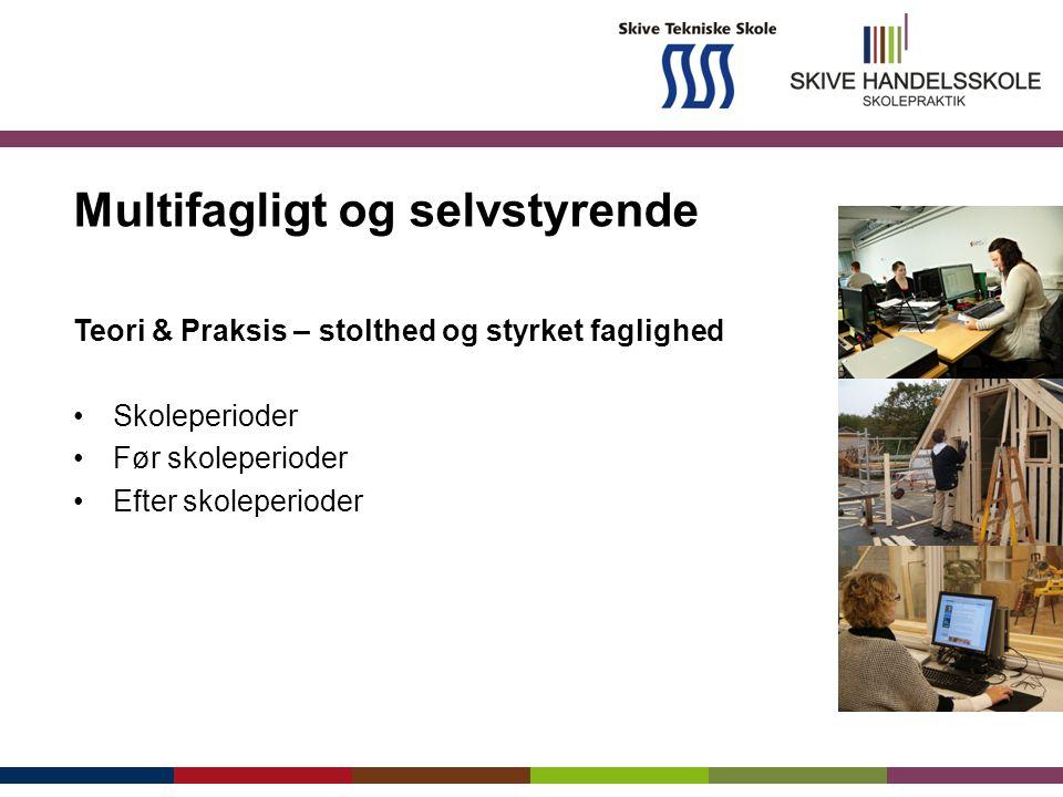Multifagligt og selvstyrende Teori & Praksis – stolthed og styrket faglighed Skoleperioder Før skoleperioder Efter skoleperioder