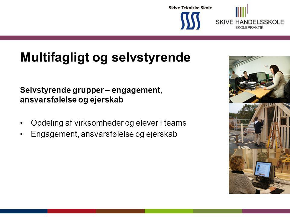 Multifagligt og selvstyrende Selvstyrende grupper – engagement, ansvarsfølelse og ejerskab Opdeling af virksomheder og elever i teams Engagement, ansvarsfølelse og ejerskab