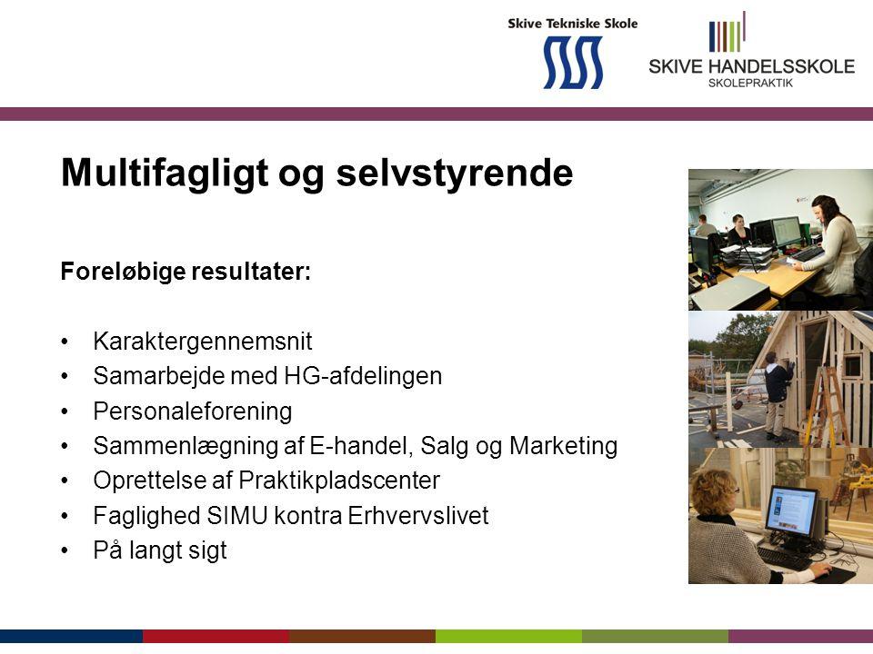 Multifagligt og selvstyrende Foreløbige resultater: Karaktergennemsnit Samarbejde med HG-afdelingen Personaleforening Sammenlægning af E-handel, Salg og Marketing Oprettelse af Praktikpladscenter Faglighed SIMU kontra Erhvervslivet På langt sigt