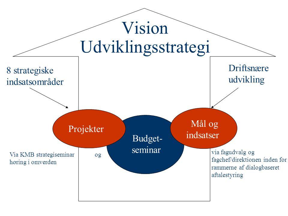 Budget- seminar Vision Udviklingsstrategi Projekter Mål og indsatser Via KMB strategiseminar og høring i omverden via fagudvalg og fagchef/direktionen inden for rammerne af dialogbaseret aftalestyring Driftsnære udvikling 8 strategiske indsatsområder