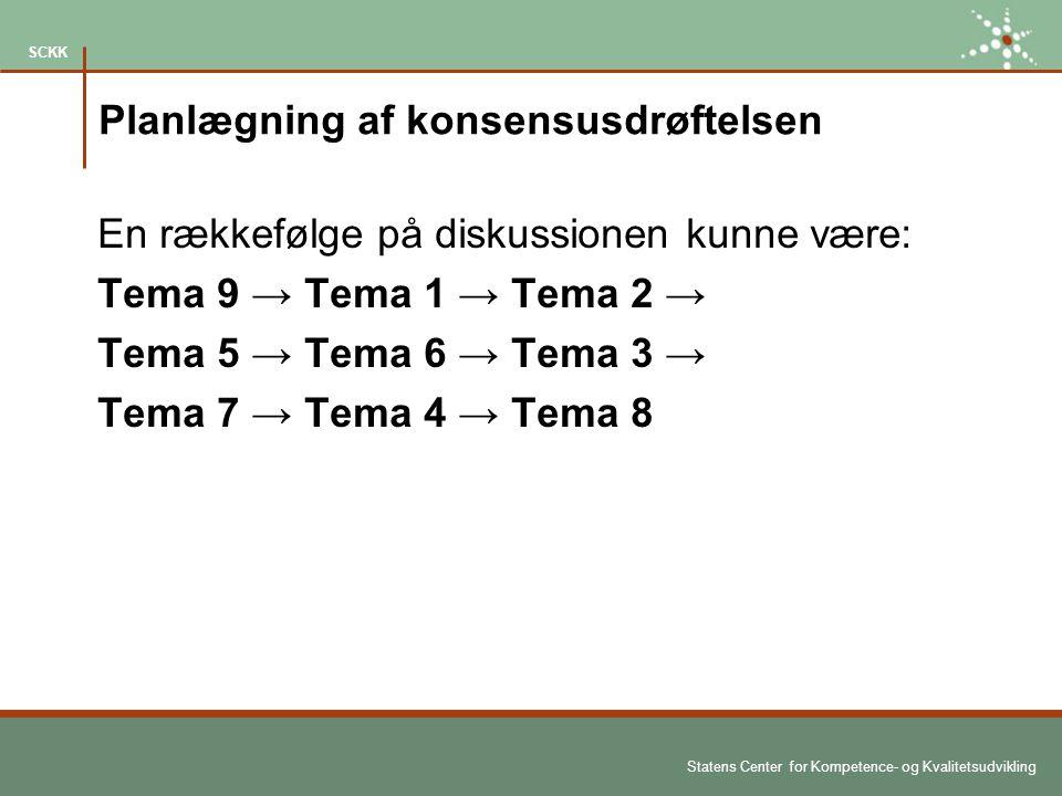 Statens Center for Kompetence- og Kvalitetsudvikling SCKK Planlægning af konsensusdrøftelsen En rækkefølge på diskussionen kunne være: Tema 9 → Tema 1 → Tema 2 → Tema 5 → Tema 6 → Tema 3 → Tema 7 → Tema 4 → Tema 8