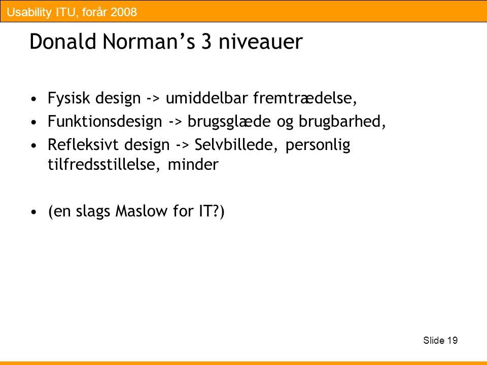 Usability ITU, forår 2008 Slide 19 Donald Norman's 3 niveauer Fysisk design -> umiddelbar fremtrædelse, Funktionsdesign -> brugsglæde og brugbarhed, Refleksivt design -> Selvbillede, personlig tilfredsstillelse, minder (en slags Maslow for IT )
