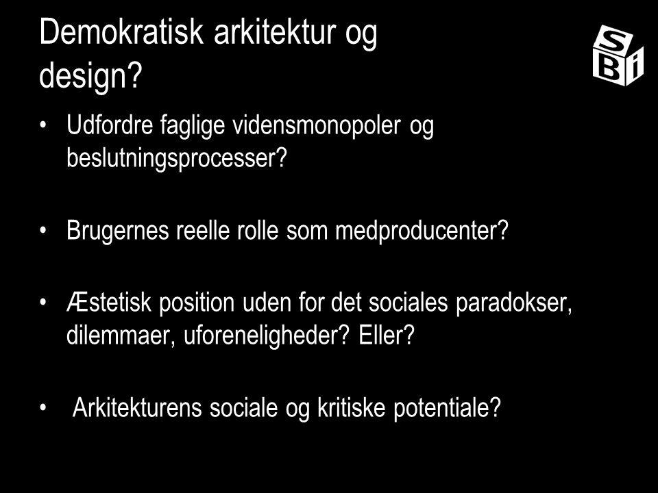 Demokratisk arkitektur og design. Udfordre faglige vidensmonopoler og beslutningsprocesser.