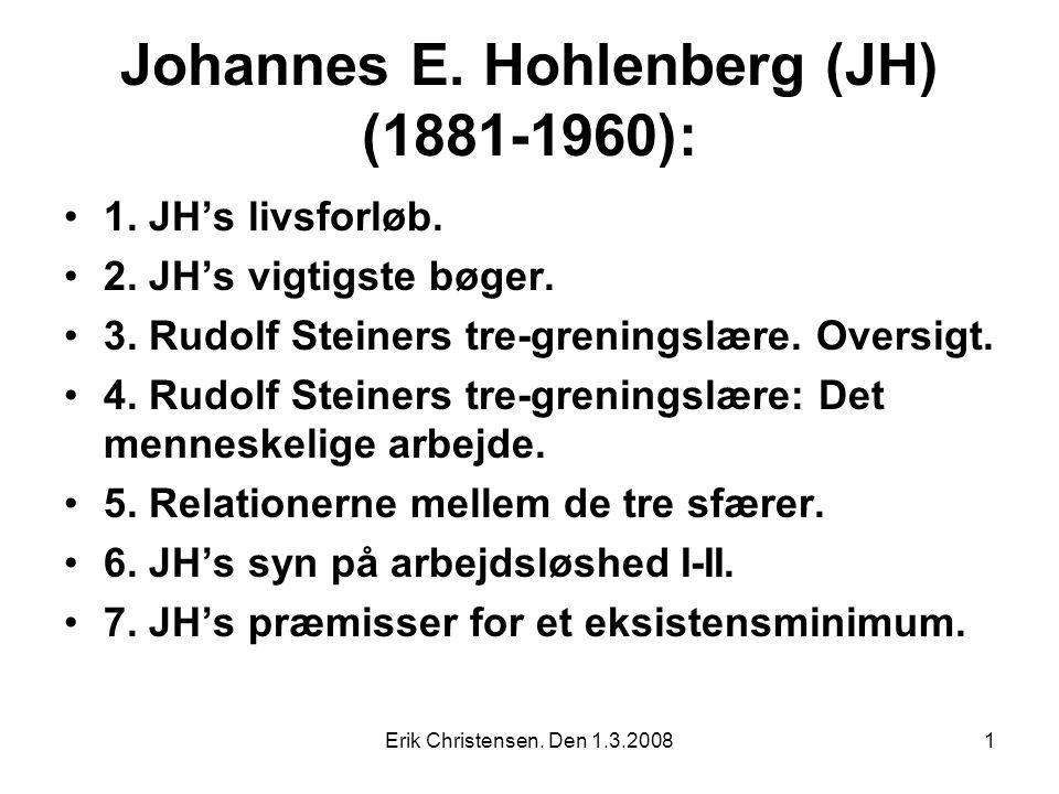 Erik Christensen. Den 1.3.20081 Johannes E. Hohlenberg (JH) (1881-1960): 1.