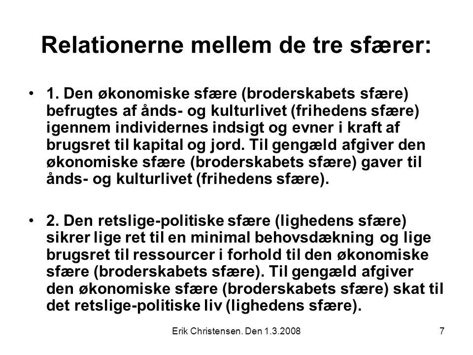 Erik Christensen. Den 1.3.20087 Relationerne mellem de tre sfærer: 1.
