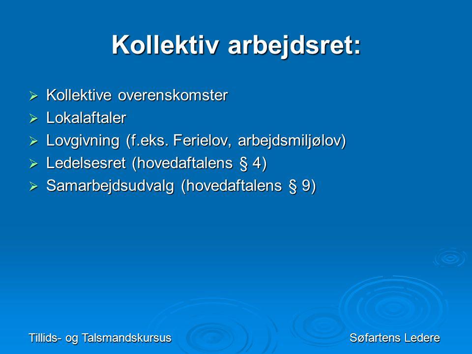 Tillids- og TalsmandskursusSøfartens Ledere Kollektiv arbejdsret:  Kollektive overenskomster  Lokalaftaler  Lovgivning (f.eks.