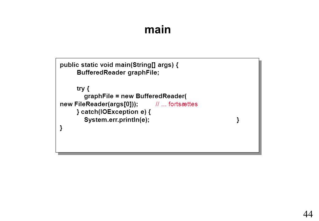 44 public static void main(String[] args) { BufferedReader graphFile; try { graphFile = new BufferedReader( new FileReader(args[0])); //...