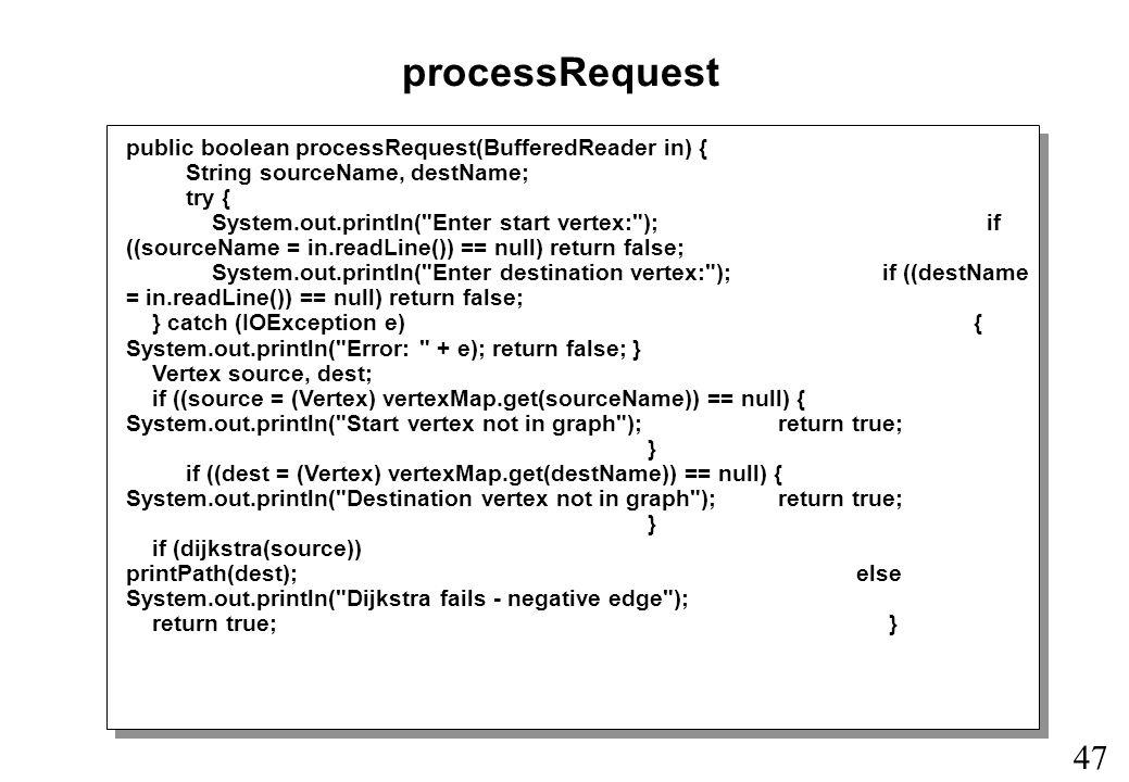 47 processRequest public boolean processRequest(BufferedReader in) { String sourceName, destName; try { System.out.println( Enter start vertex: ); if ((sourceName = in.readLine()) == null) return false; System.out.println( Enter destination vertex: ); if ((destName = in.readLine()) == null) return false; } catch (IOException e) { System.out.println( Error: + e); return false; } Vertex source, dest; if ((source = (Vertex) vertexMap.get(sourceName)) == null) { System.out.println( Start vertex not in graph ); return true; } if ((dest = (Vertex) vertexMap.get(destName)) == null) { System.out.println( Destination vertex not in graph ); return true; } if (dijkstra(source)) printPath(dest);else System.out.println( Dijkstra fails - negative edge ); return true; }