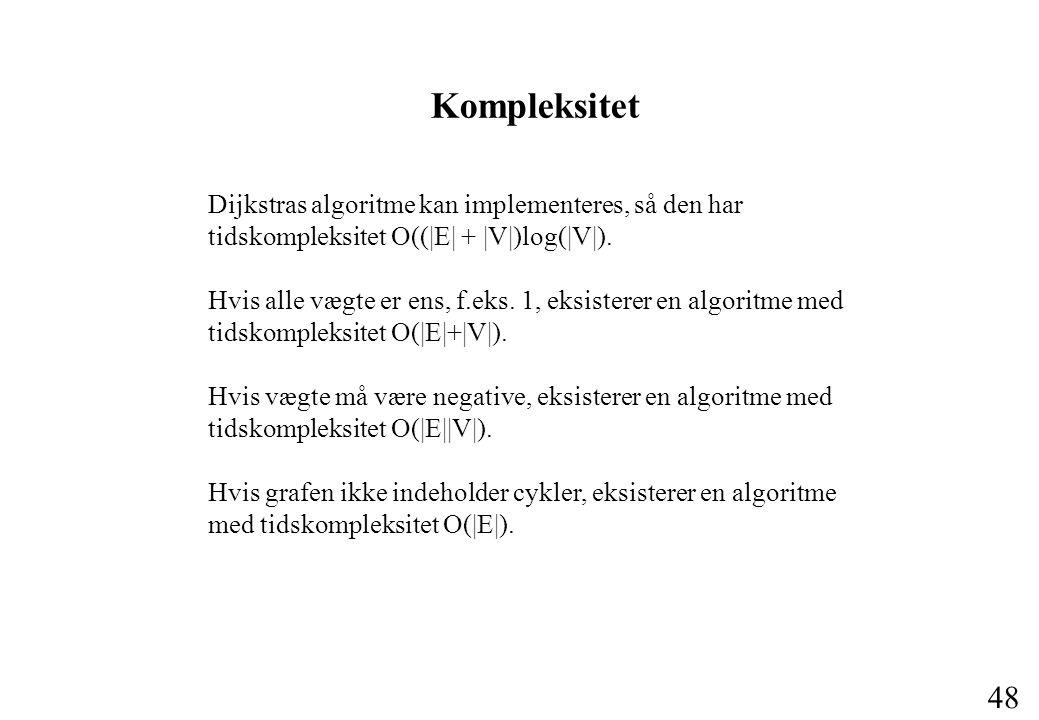 48 Kompleksitet Dijkstras algoritme kan implementeres, så den har tidskompleksitet O((|E| + |V|)log(|V|).