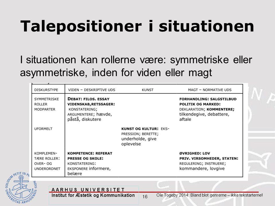 16 Ole Togeby 2014: Bland blot genrerne – ikke tekstarterne.