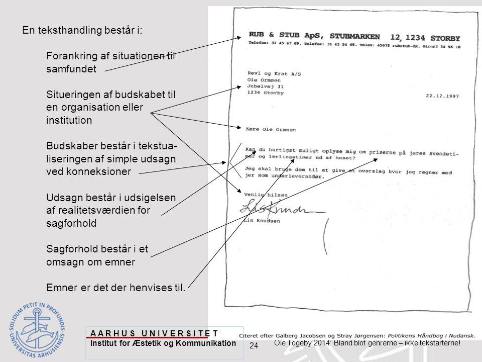 24 Ole Togeby 2014: Bland blot genrerne – ikke tekstarterne.
