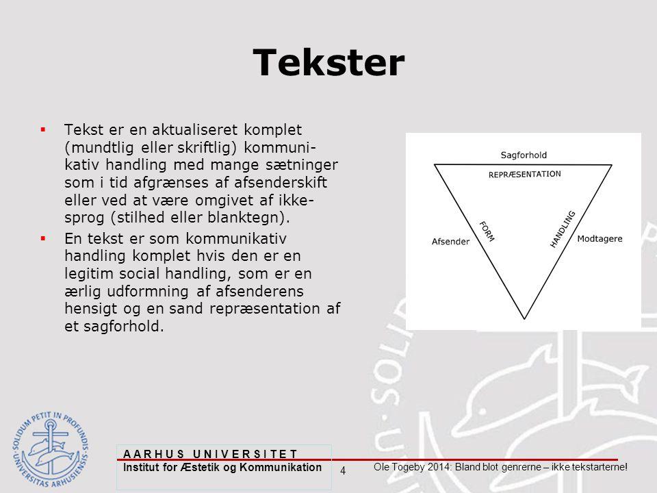 4 Ole Togeby 2014: Bland blot genrerne – ikke tekstarterne.