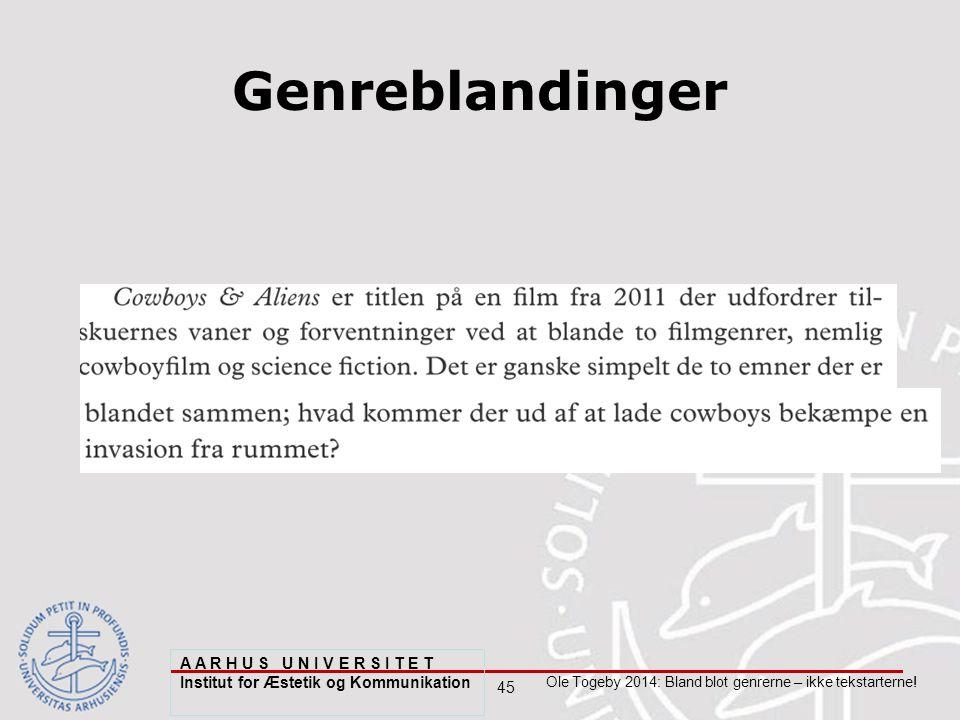 45 Ole Togeby 2014: Bland blot genrerne – ikke tekstarterne.