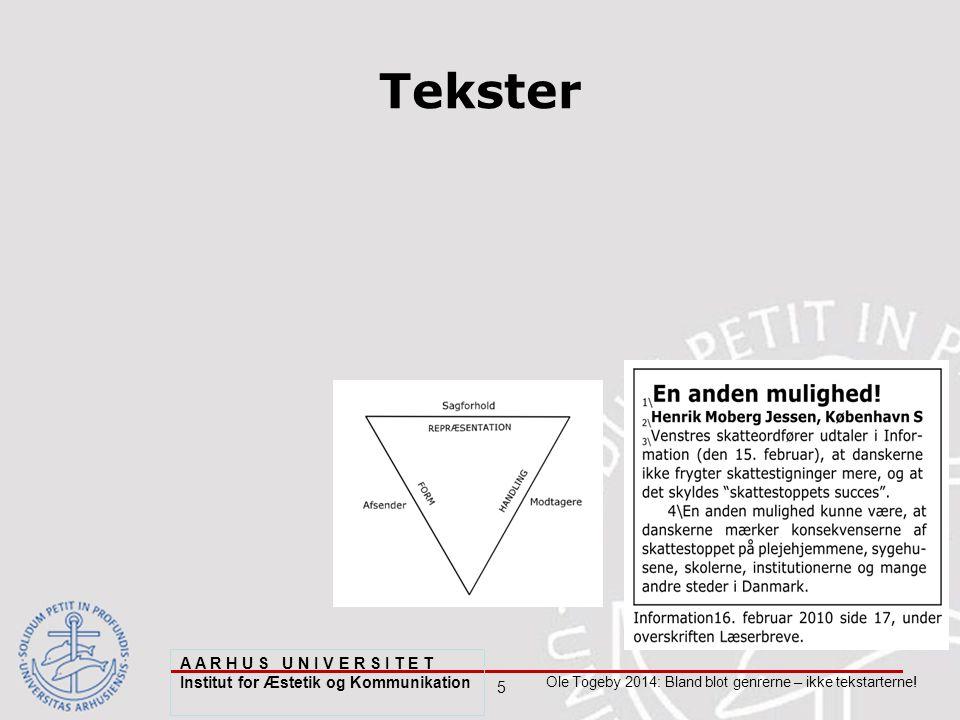 5 Ole Togeby 2014: Bland blot genrerne – ikke tekstarterne.