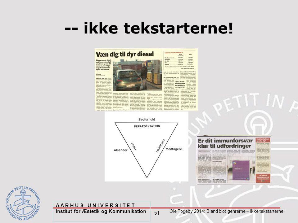 51 Ole Togeby 2014: Bland blot genrerne – ikke tekstarterne.