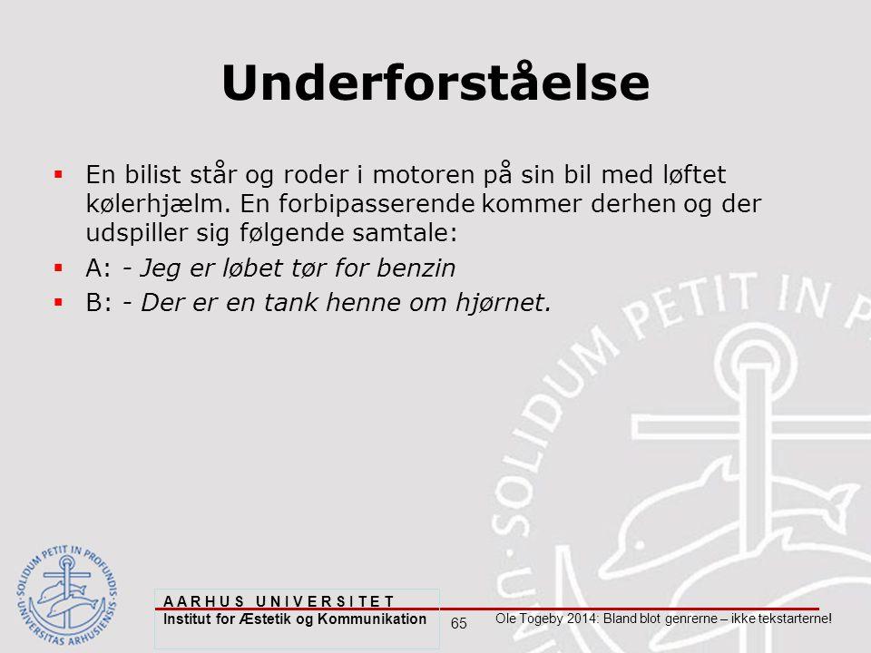 65 Ole Togeby 2014: Bland blot genrerne – ikke tekstarterne.