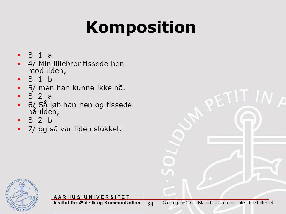 94 Ole Togeby 2014: Bland blot genrerne – ikke tekstarterne.